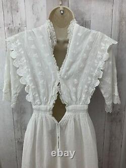 1900s-Antique White Edwardian Lawn Dress Vintage Gown Tiered Cotton JrRare Cond