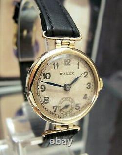 1938 Rolex Antique Vintage Deco Rare Irish Solid Gold Wrist Watch Fully Serviced