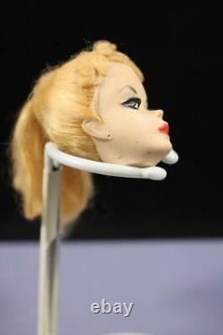 1959 #1 Blonde Ponytail Barbie Rare White Iris Foot Holes Zebra Suit TLC Mattel