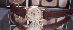40's Swiss Antique Vintage Rare Triple Date Solid 18k Pink Gold Watch Nice Dial