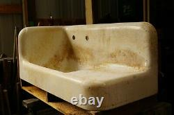 ANTIQUE CAST IRON 42 High back FARM HOUSE SINK-FULL APRON Rare corner sink