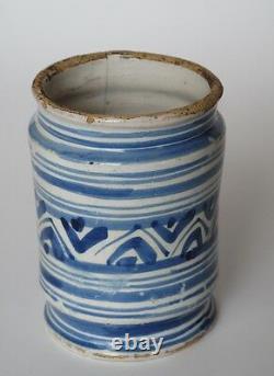 A rare Dutch Delft Albarello Hi-ire ointment pharmaceutical apothecaries pot