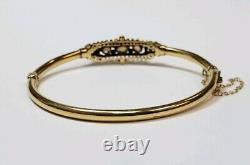 Antique 14k Yellow Gold White Opal Bangle Bracelet Oval Women Ladies Rare