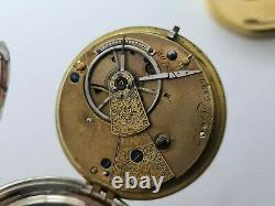 Antique 1855 London Solid Silver Fusee Pocket Watch Quality Movement Rare