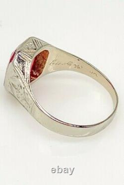 Antique 1900s Edwardian 5ct RUBY 10k White Gold Mens Ring Band 7g RARE