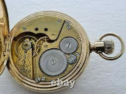 Antique 1905 Elgin 16s Half Hunter Gold Plated Pocket Watch VGC Box Rare