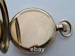 Antique 1907 Waltham Traveler Gold Plated 16s Pocket Watch Needs Repair Rare