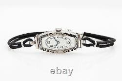 Antique 1920s Signed CHOPARD Enamel 18k White Gold Ladies Dress Watch RARE WRNTY