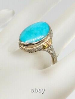 Antique Edwardian 1900s 10ct Turquoise 14k White Rose Gold Filigree Ring RARE