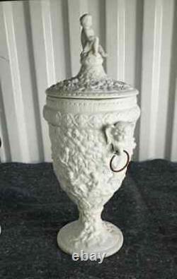 Antique German Porcelain Bisque Urns with Lid, Couple. XIX C. 13 H. RARE