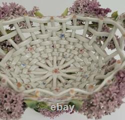 Antique German Sitzendorf Porcelain Centerpiece Bowl Basket Flowers LilacsRARE