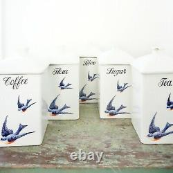 Antique Hull Bluebird Canister Set and Spice Jars Ironstone 20s Rare Cereal Set