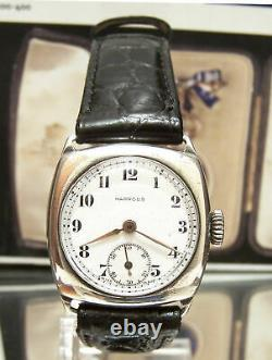 Antique Vintage Rare Harrods Solid Silver 1928 Wrist Watch Serviced Minty Dial