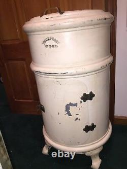 Antique White Frost #325 Tall Round Ice Box Refrigerator With Lazy Susan Rare PU