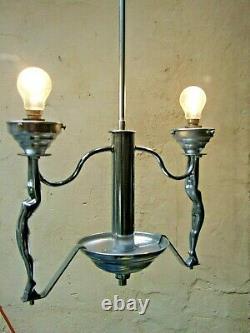 Art Deco 2 Chrome Nude Lady Diana Ceiling Light Frankart Flame Shades1930's Rare