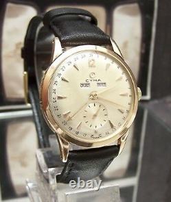 C1950's Antique Vintage V Rare Cyma / Tavannes Triple Date Solid 18k Gold Watch