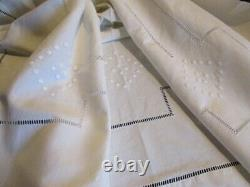 Elegant RARE PAIR Antique French Metis Linen Sheets, Embroidery 230 x 320 cm