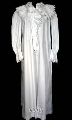 Exceptional Rare French Edwardian White Cotton Nightgown Amazing Collar Size Lg