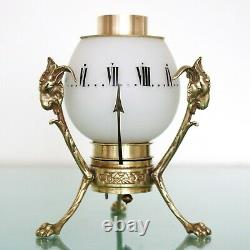 FRENCH ROTATING NIGHT Clock Mantel Candle Bronze VERY RARE! France Antique 1860s