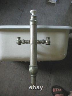 Incredibly RARE 1905 Cast Iron Porcelain Pedestal Baby Childs Bath Tub Basin