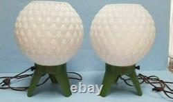 Mid Century PAIR Lamps Beehive Orbs Plastic RARE