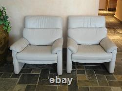 PAIR of RARE 80s CY MANN DESIGNS ROLF BENZ LEATHER RECLINER CHAIR & OTTOMAN