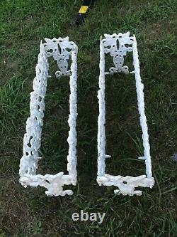 Pair of Vintage Cast Iron Grape Leaves Plant Planter Stand Holders RARE FIND