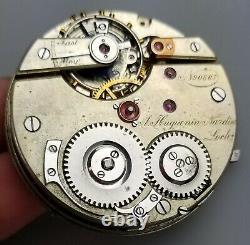 RARE ANTIQUE A. HUGUENIN NARDIN OPEN FACE POCKET WATCH MOVEMENT 43.7mm