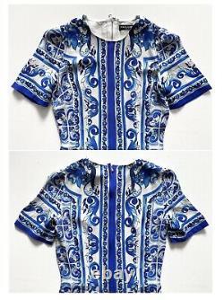 RARE! AUTH HTF! Dolce & Gabbana Blue&White Majolica Printed Silk Dress 38 it