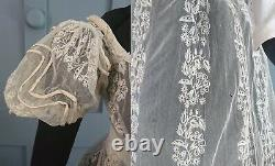 RARE Museum Quality 1820s Tambour Lace Dress With Oversleeves Regency Antique