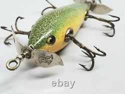 RARE Pflueger MONARCH 2100 5 Hook Underwater Minnow Lure Green/White Crackle