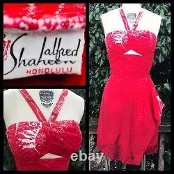 RARE Shaheen Vtg 1950's Red And White Hawaiian Peek-A-Boo Sarong Dress