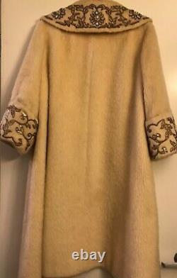 RARE Vintage 50s Lilli Ann mohair wool white swing coat. Size Large