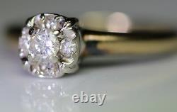 RARE Vintage Antique Diamond Solitaire 14K White Gold Engagement Promise Ring