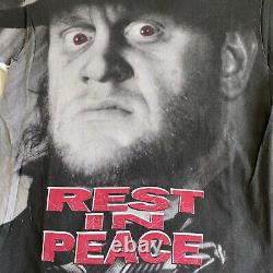 RARE Vintage WWF All Over Print Undertaker Rest In Peace T Shirt kane hhh