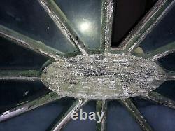 RARE c1820 oval gable end window Spider Web design 55x33 Architectural gem