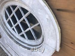 RARE c1900 oval window frame sash w casing mission tudor style 24/14 window