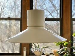 RARE white LIGHTOLIER Pendant lamp MID CENTURY MODERN w ceiling panel hardwire