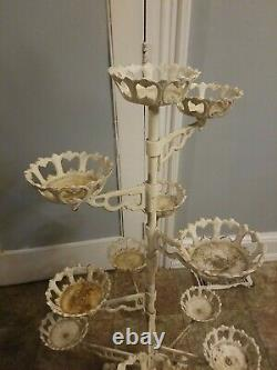 Rare 11 arm Vintage Victorian French Cast Iron Plant Planter revolving Stand