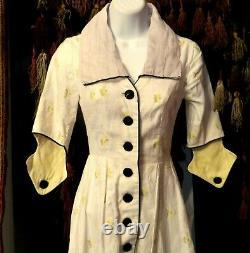 Rare 1930s Art Deco Cotton Print Dress with Outrageous Collar, Cuffs and Hem