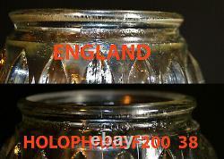 Rare 1930s Original English Holophane Prismatic ribbed glass pendant light shade