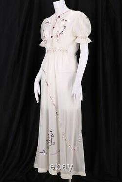 Rare 1940s PARACHUTE SILK WWII era embroidered peasant slip dress vintage 40s