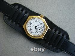 Rare Antique 18k Solid Gold Rolex Oyster Cushion Octagonal Gents Watch 1930