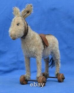 Rare Antique 1920s Steiff 7 White Mohair Little Donkey On Wheels FF Button
