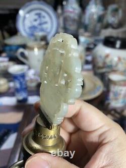 Rare Antique Chinese Famille Verte Vase Lamp W White Jade