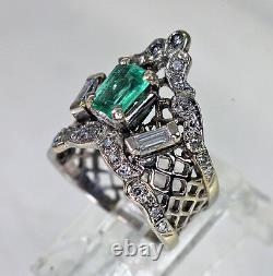 Rare Antique Crown Emerald Diamond 14K White Gold Ring Grand
