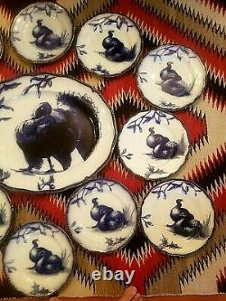 Rare Antique Doulton Flow Blue Christmas Turkey Huge Platter & 12 Plates N. Mint