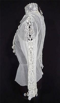 Rare Antique French Victorian White Cotton Net And Lace Blouse Size 36-38