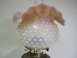 Rare Antique Pink To White Art Glass Gone With The Wind Table Lamp In Oil