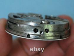 Rare Antique Triple Date Day Moon Phase Pocket Watch Movement withMulti Color Dial